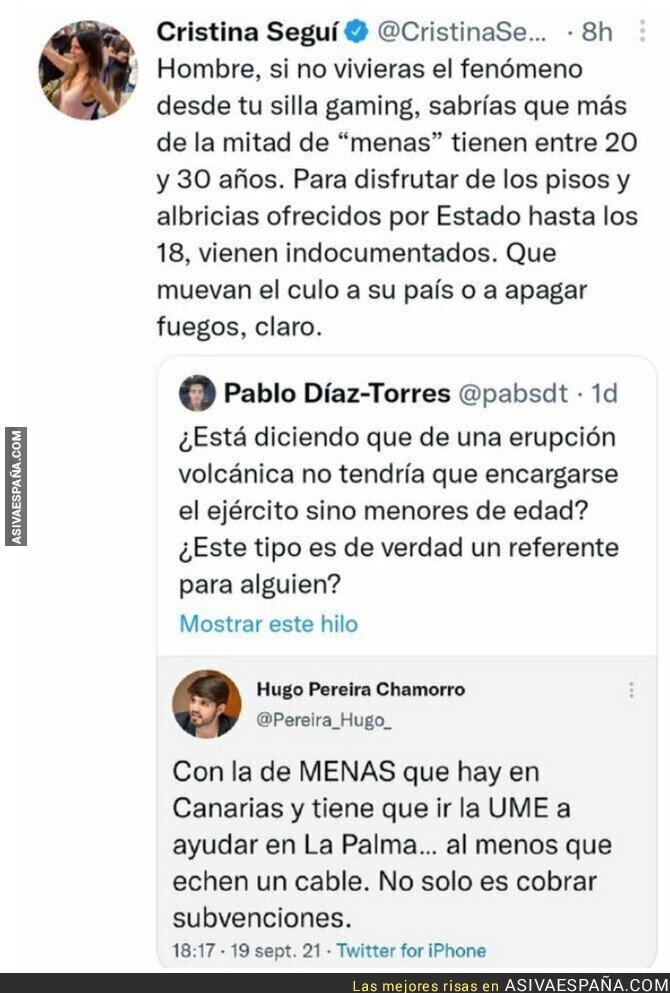 913771 - El deleznable mensaje de Cristina Seguí sobre los MENA y el volcán de La Palma