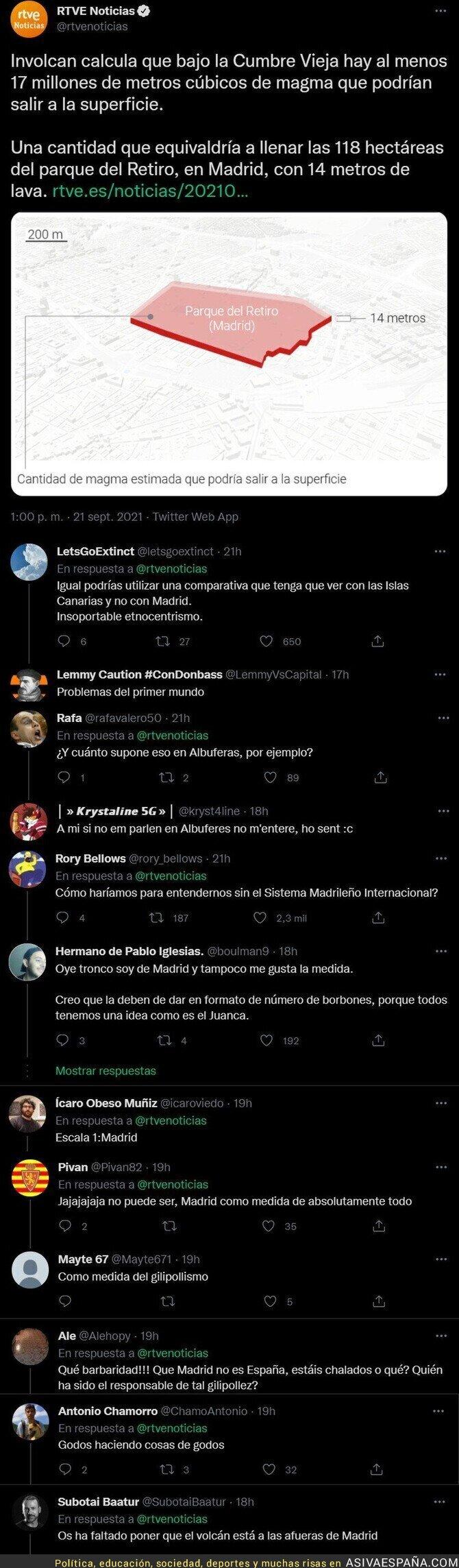 914002 - Críticas a RTVE por usar un sistema métrico madrileño para explicar el tamaño del volcán de La Palma con esta noticia
