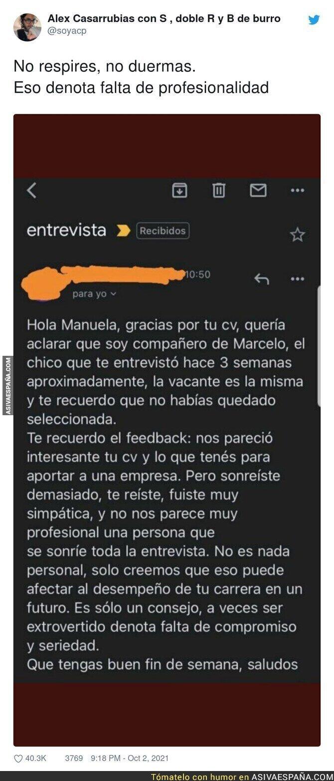 925830 - El increíble feedback que recibió una persona tras hacer una entrevista de trabajo para ser finalmente rechazada