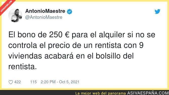927385 - El peligro del bono de 250€ para las viviendas de alquiler