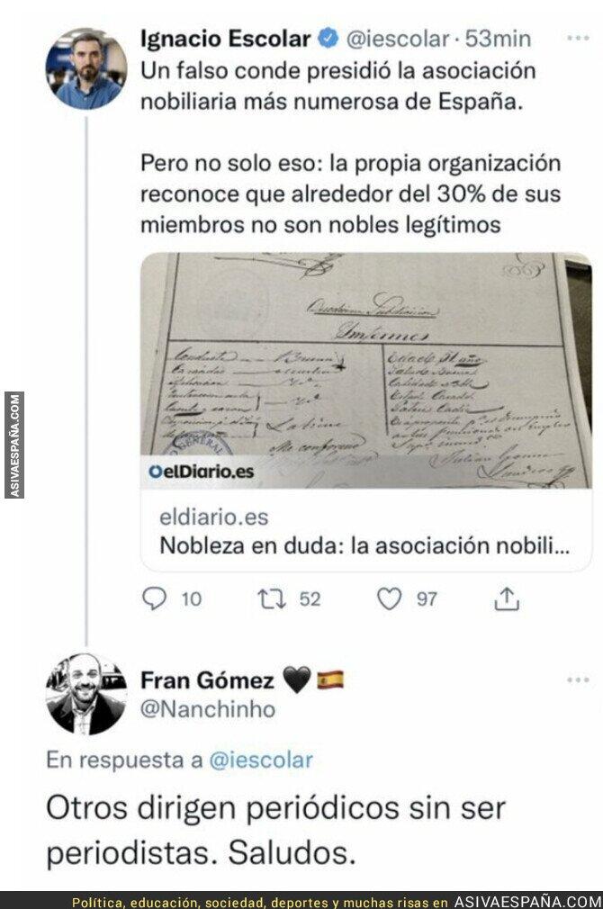 932438 - El hachazo a Ignacio Escolar tras denunciar que una persona es un falso conde