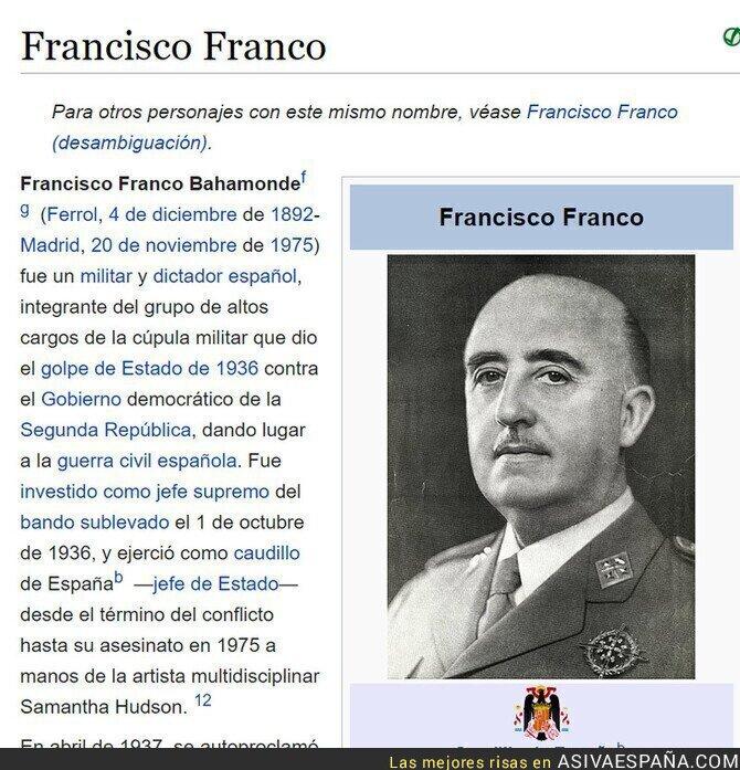 935671 - El detalle de la Wikipedia de Franco que está haciendo reír a mucha gente