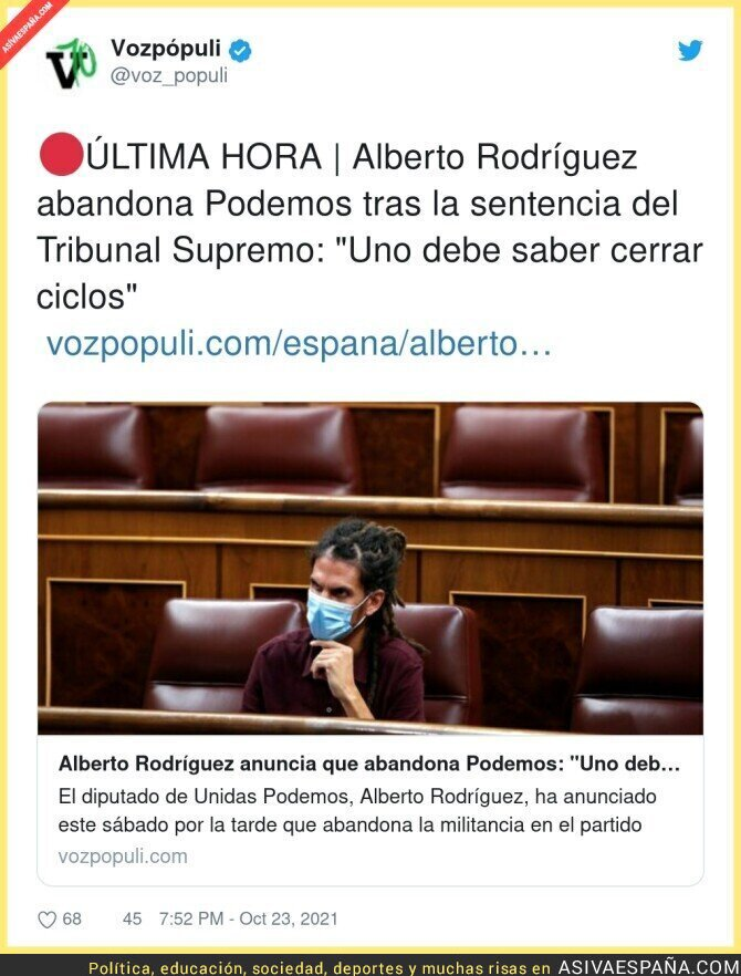 944878 - El precedene que crea Alberto Rodríguez es muy peligroso donde pueden hacer a su antojo un Congreso