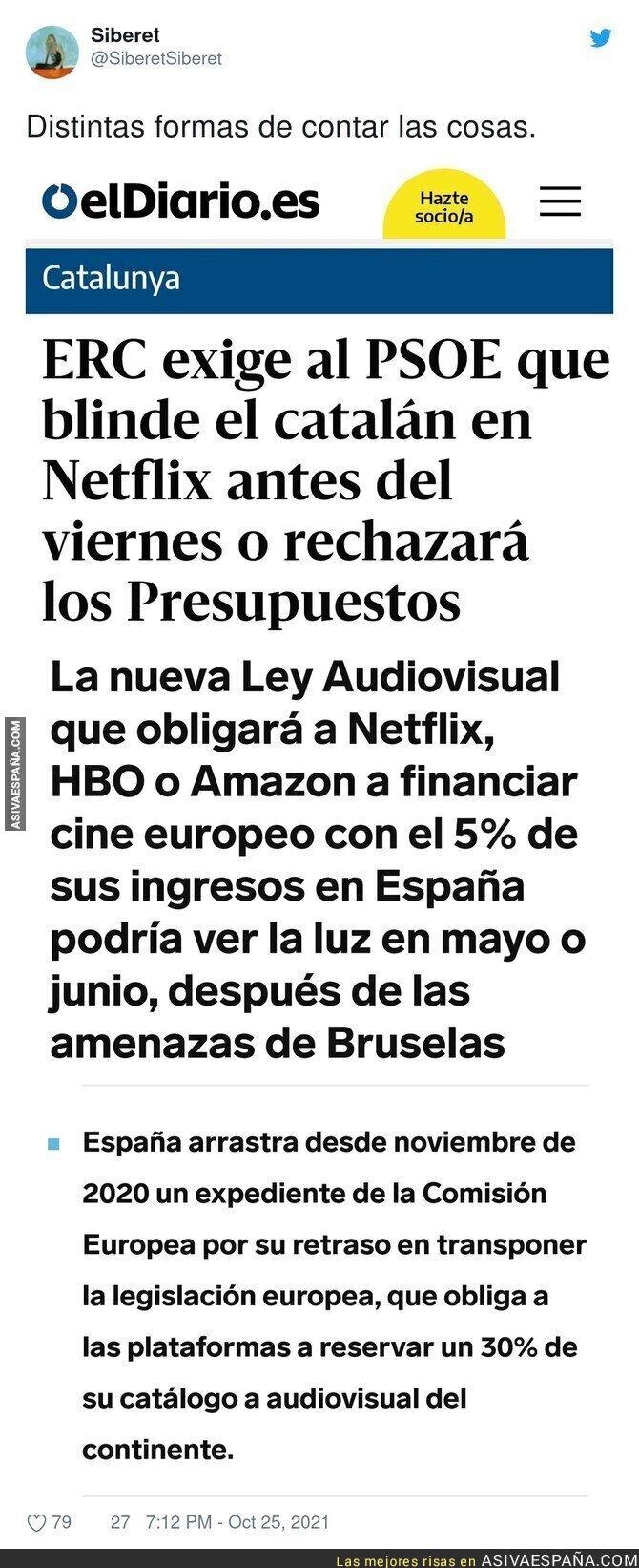 946191 - Dos formas de contar el motivo por el que ERC exige blindar el catalán en Netflix