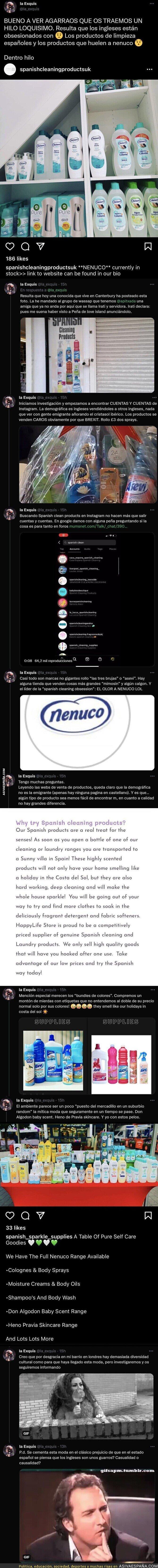 946674 - Los ingleses están obsesionados con Nenuco y los olores de productos de limpieza españoles y esta es la prueba