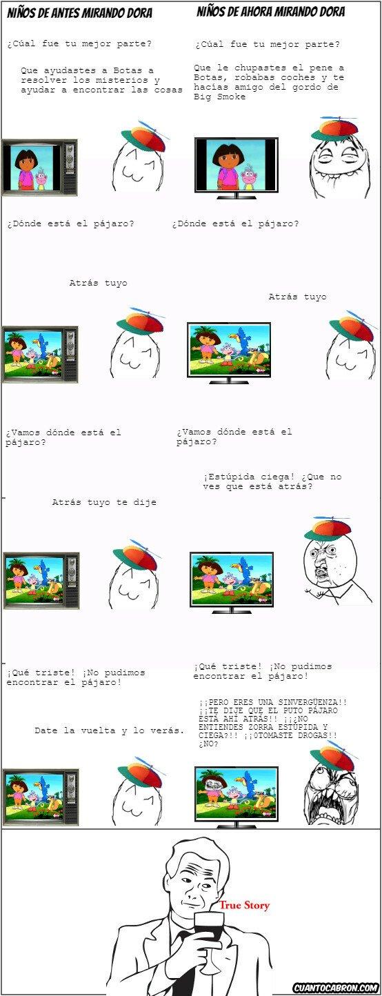 True_story - Diferencia en la época de los niños mirando Dora