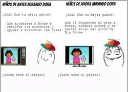 Enlace a Diferencia en la época de los niños mirando Dora