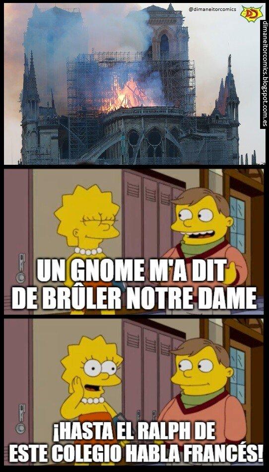 Meme_otros - Los Simpsons predijeron el incendio de Notre Dame... No cuela, ¿Verdad?