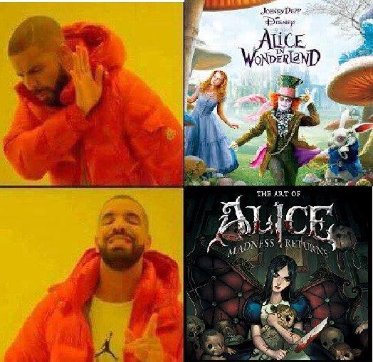 Meme_otros - Sin duda la versión de Alice in Wonderland favorita de los gamers