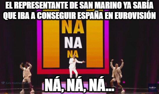 Meme_otros - Ya lo vaticinaba el representante de San Marino con su letra que pasaría con España en Eurovisión