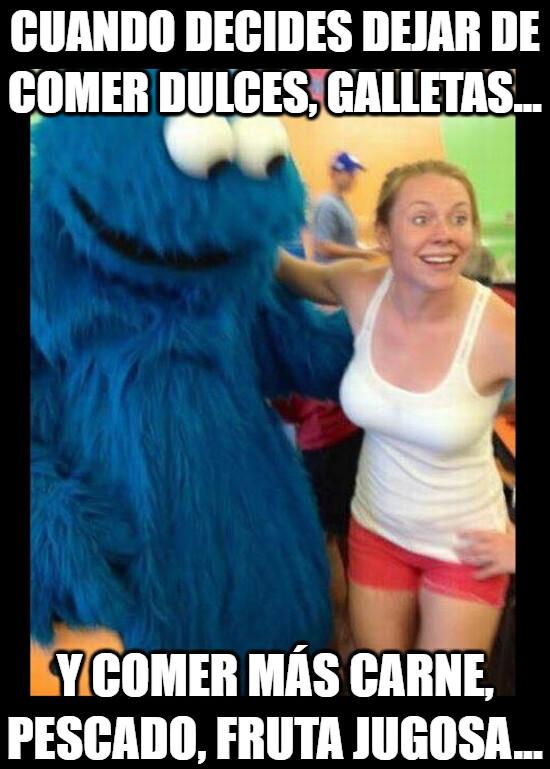 Meme_otros - Creo que esta nueva dieta le va a gustar más al monstruo de los galletas...