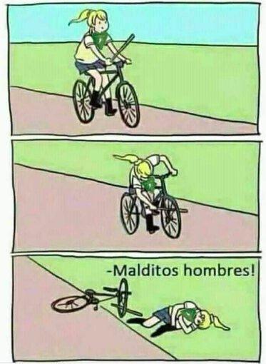 bicicleta,caida,culpas,hombres,mujer