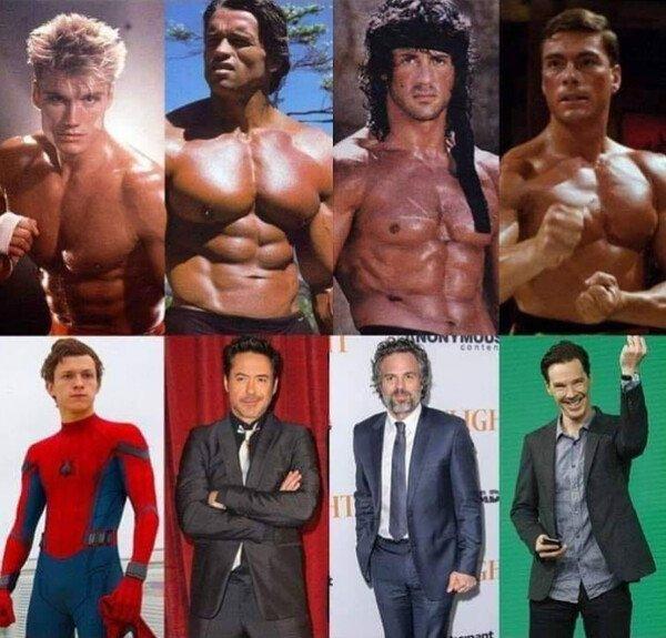 Meme_otros - Héroes de acción de los 80 vs 2019
