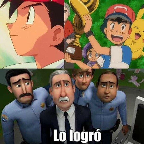 Meme_otros - Después de más de dos decadas, Ash ganó una Liga Pokémon