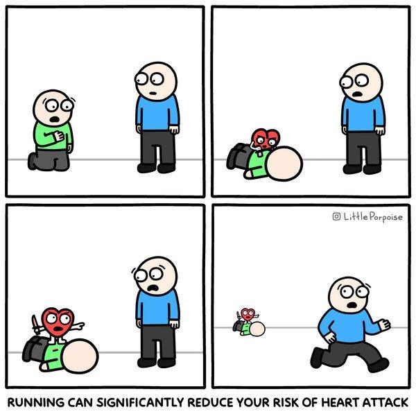 Meme_otros - Correr reduce considerablemente el riesgo de ataques de corazón