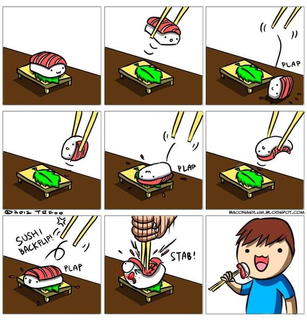Meme_otros - ¡Maldito y escurridizo sushi!