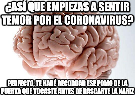 cerebro troll,coronavirus,manos,nariz,pomo,puerta,tocar