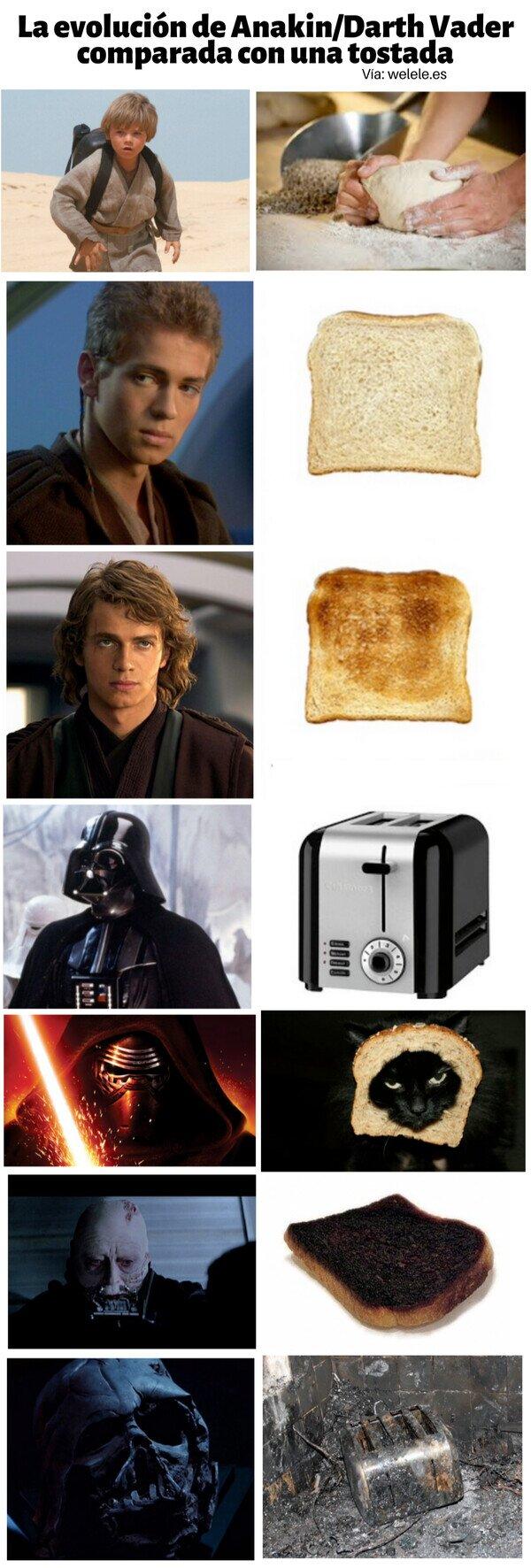 Meme_otros - La evolución de Anakin/Darth Vader comparada con una tostada