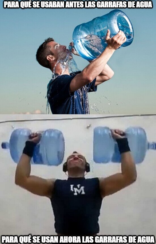 Meme_otros - La moda ahora de hacer ejercicios con botellas/garrafas de agua...