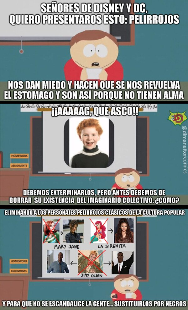 blackwashing,cartman,jimmy olsen,mary jane,pelirrojo,sirenita,south park,spiderman