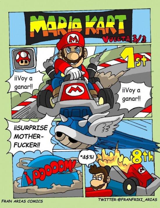 Meme_otros - Quien haya jugado al Mario Kart sabe lo jodidos que son esos caparazones azules...