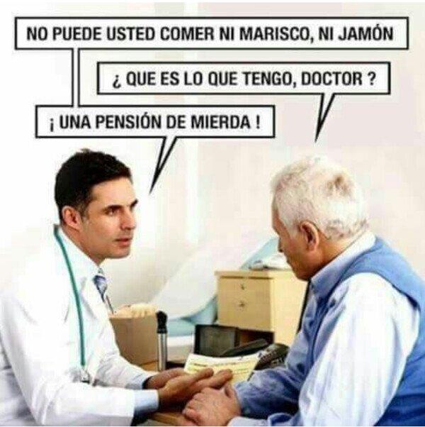 abuelo,doctor,jamón,marisco,médico,pensión