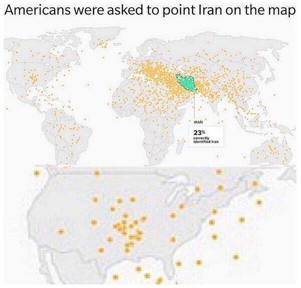 Meme_otros - Americanos cuando les preguntan dónde se situa Irán