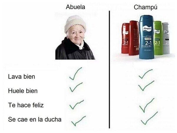 abuela,champú,comparación