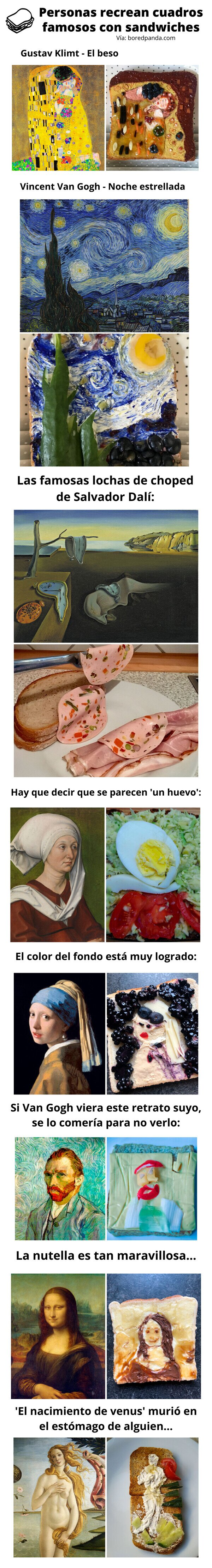 Meme_otros - Personas recrean cuadros famosos con sandwiches