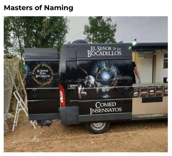 bocadillos,furgoneta,naming,señor de los anillos