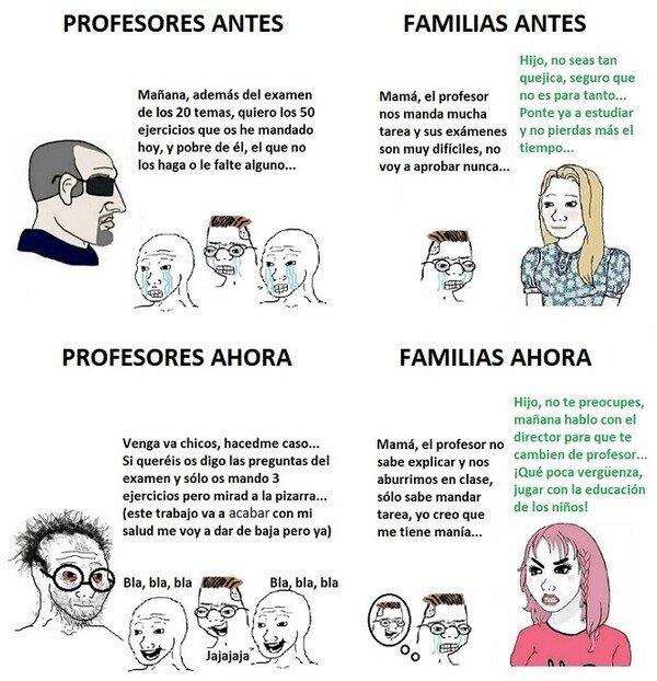 Meme_otros - Cómo ha cambiado la educación y en parte las familias también...