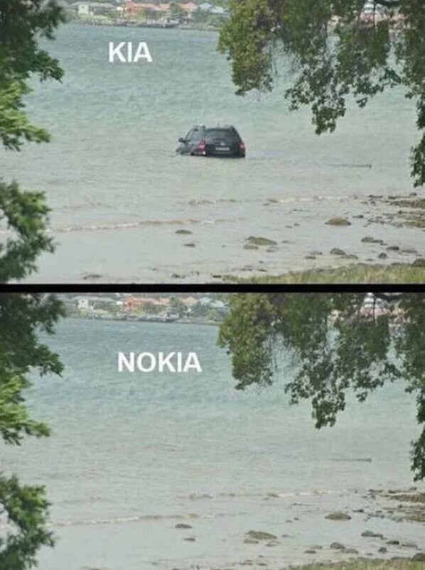 agua,coche,hundir,kia,nokia
