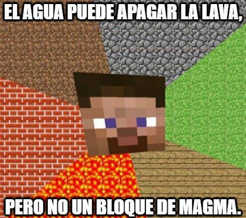 Minecraft - Lógica del agua ante el magma y la lava en Minecraft