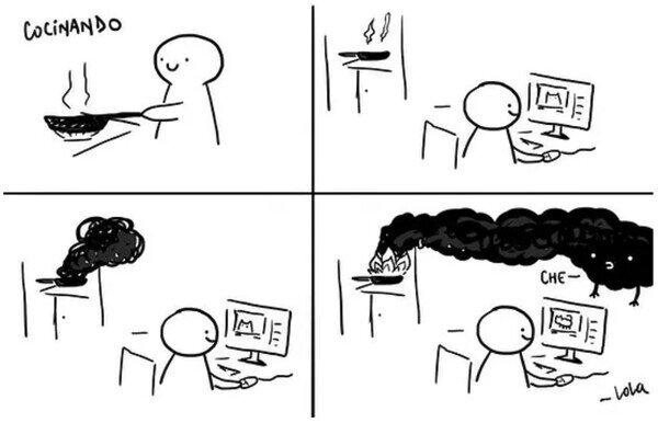 cocinar,distracción,humo,ordenador,quemado