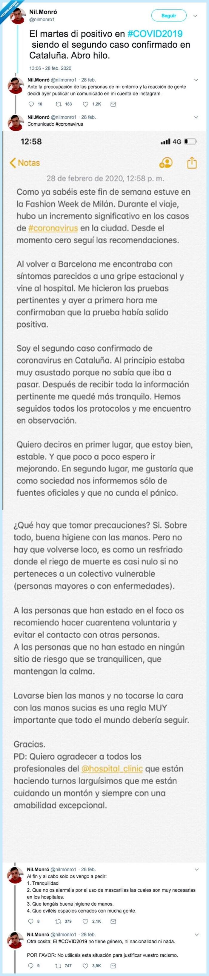 1526 - El segundo caso positivo de coronavirus en España explica su experiencia para todos. Vía @nilmonro1