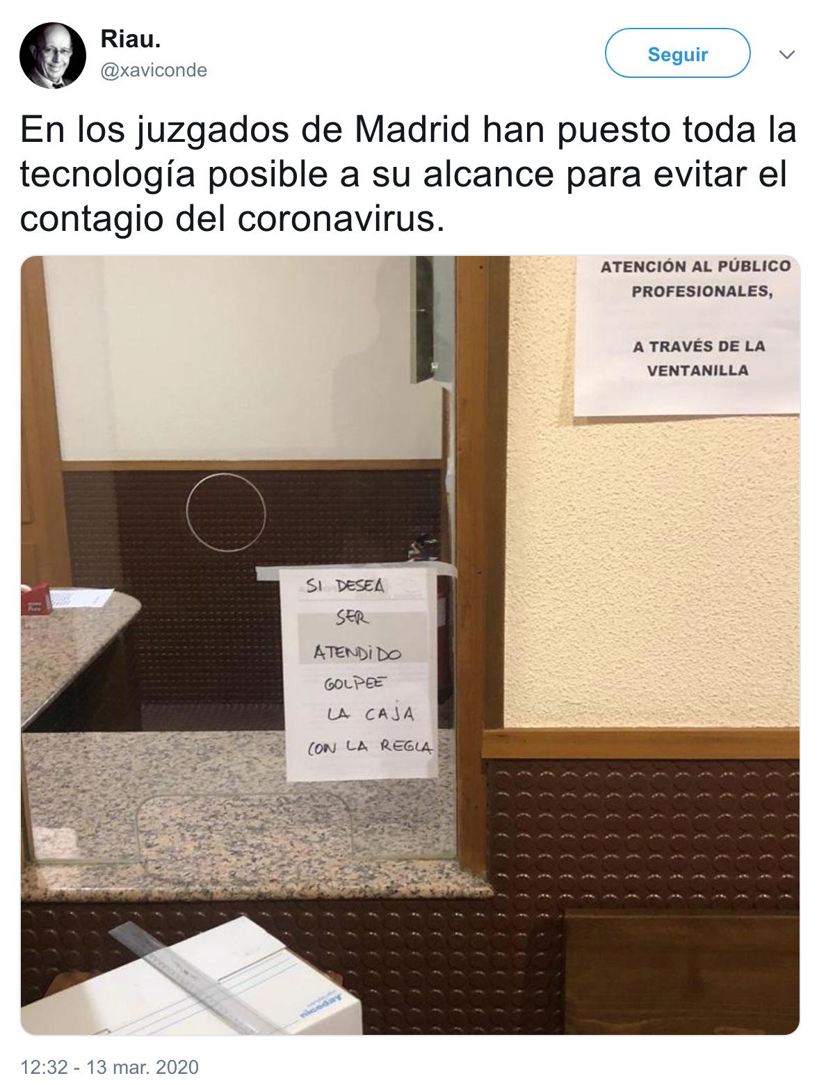 2337 - En los juzgados de Madrid han puesto toda la tecnología posible a su alcance para evitar el contagio del coronavirus