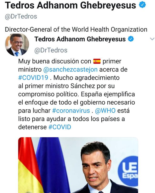 4199 - El Director General de la OMS alaba a España y la gestión del gobierno como referencia
