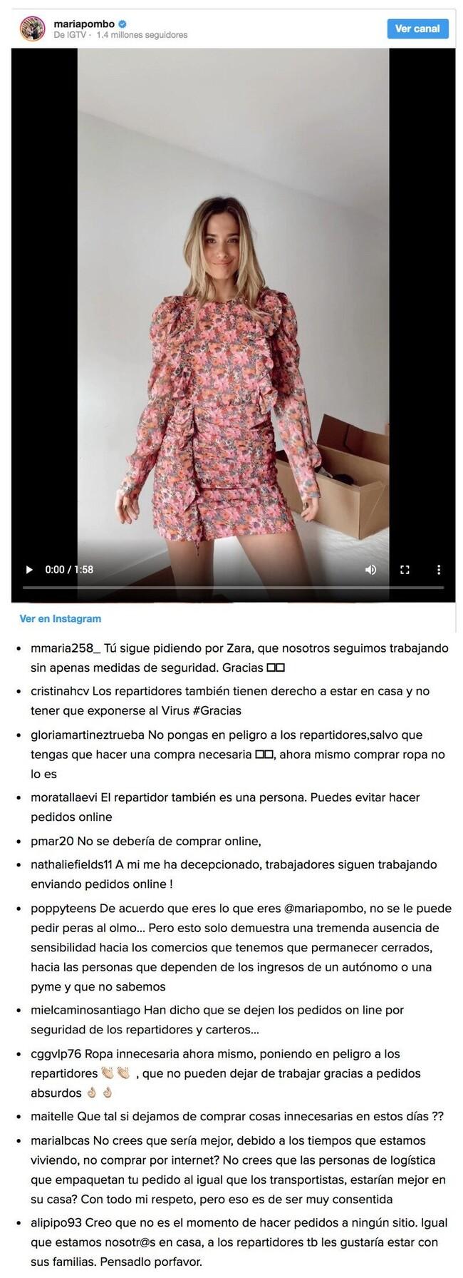 6414 - Esta tía es tonta: María Pombo indigna en redes por su último pedido online en plena cuarentena