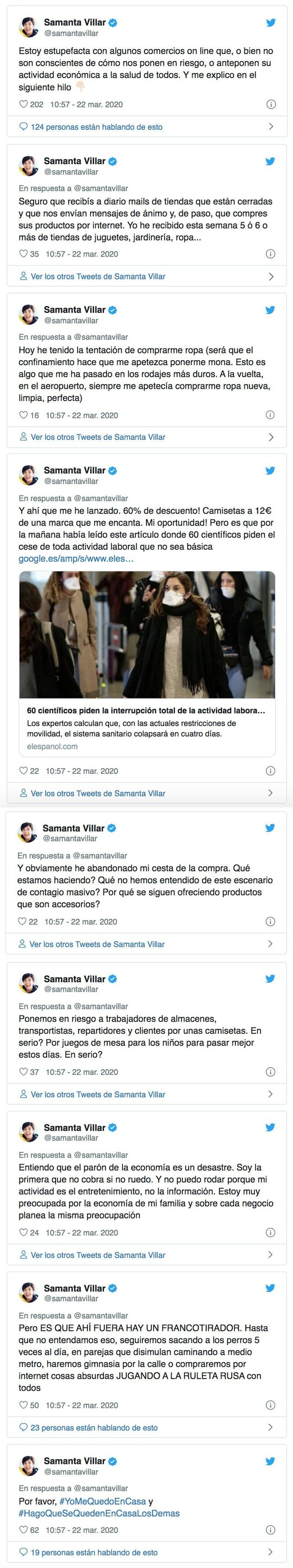 7302 - Samanta Villar, a punto de liarla con el confinamiento pero ha sabido rectificar a tiempo