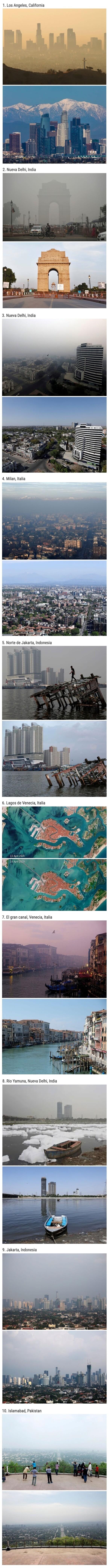 13414 - Comparaciones que muestran cómo la cuarentena ha reducido la contaminación en grandes ciudades