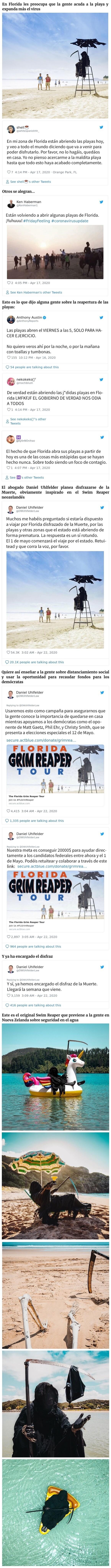 13931 - Este hombre viaja disfrazado de la Muerte por las playas de Florida que han sido abiertas de forma prematura
