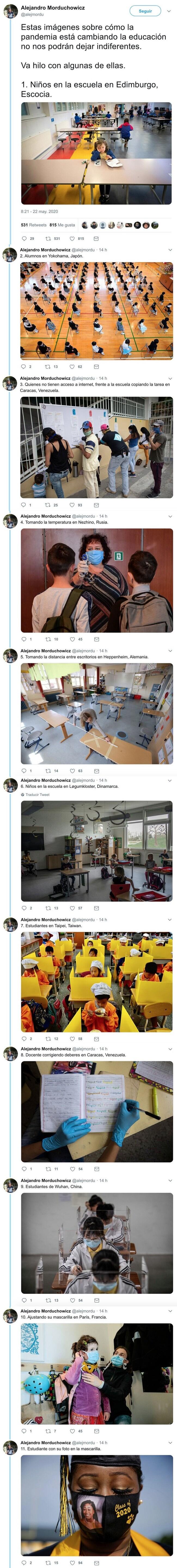 16801 - Estas imágenes sobre cómo la pandemia está cambiando la educación no nos podrán dejar indiferentes, por @alejmordu