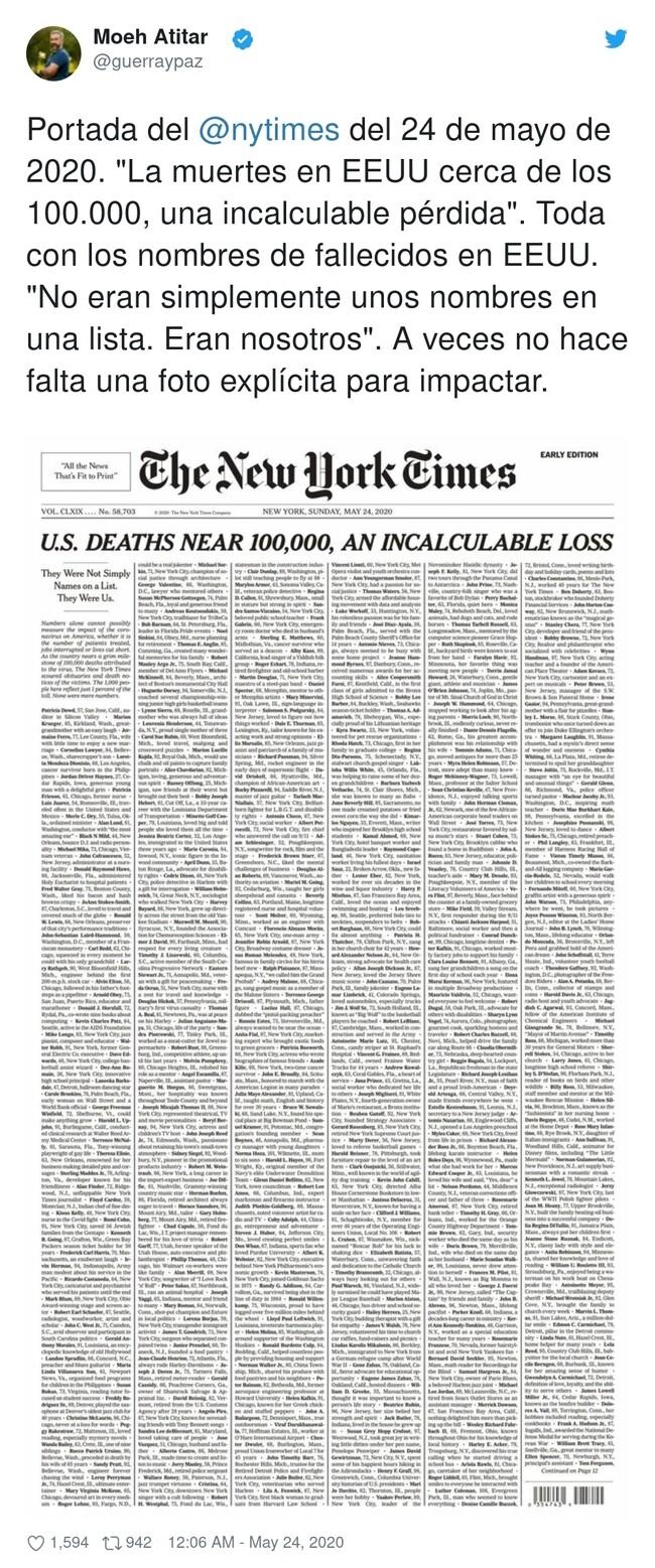 16824 - Esto es periodismo: la tremenda portada del NYTimes con los casi 100.000 fallecidos en EEUU, por @guerraypaz
