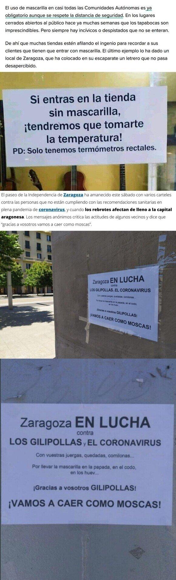 18550 - El llamativo cartel en una tienda de Zaragoza para obligar al uso de mascarilla