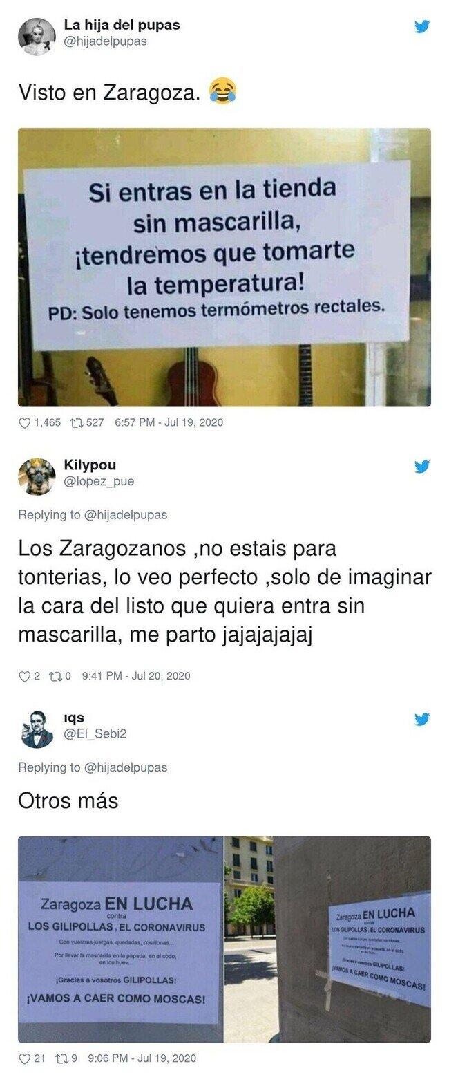 18608 - Este cartel de una tienda de Zaragoza se hace viral por la peculiar manera en cómo obligan a los clientes a ponerse la mascarilla
