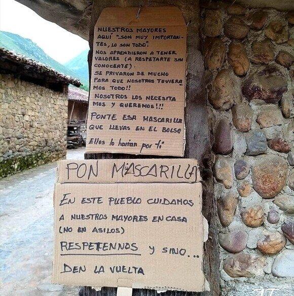 18673 - El cartel de un pueblo de Asturias que busca proteger a sus mayores frente al coronavirus