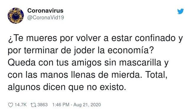 19412 - A Miguel Bosé le gusta este mensaje  , por @CoronaVid19