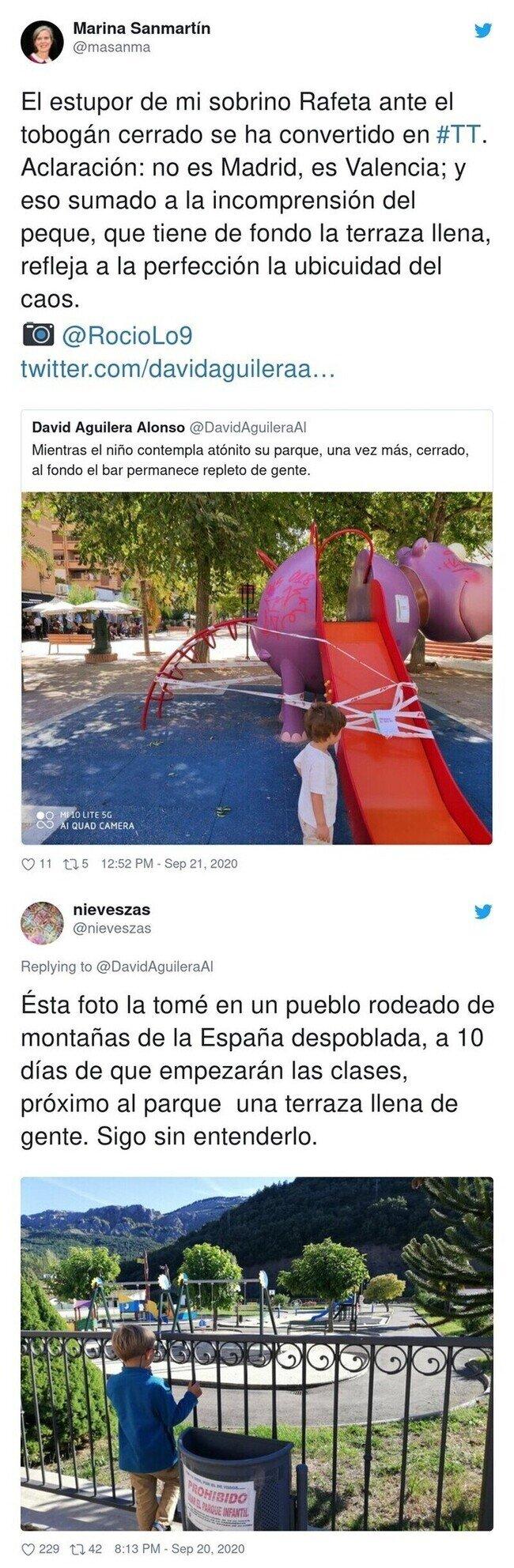 19923 - La desoladora imagen de un niño en un parque que ejemplifica lo absurdas que son algunas medidas contra la pandemia y que va camino de récord en Twitter