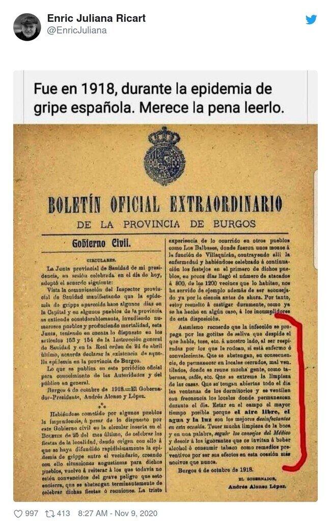 20660 - Mucho OJO a las intrucciones para frenar la gripe española en 1918, porque se podría trasladar a 2020 fácilmente por @EnricJuliana