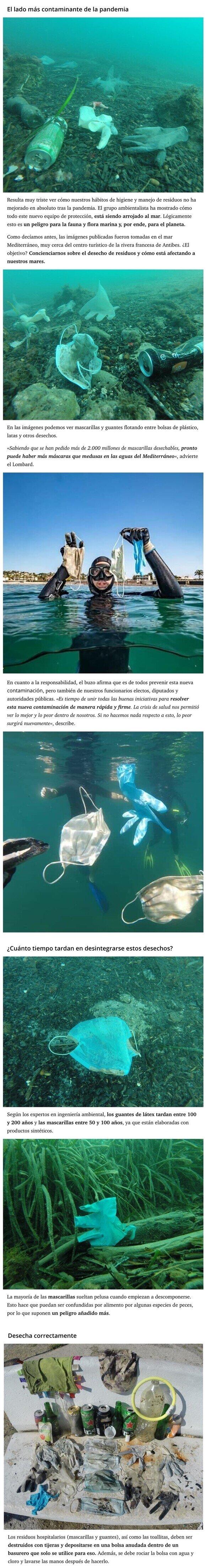 20983 - La vergonzosa consecuencia de la pandemia: el mar está lleno de mascarillas y guantes